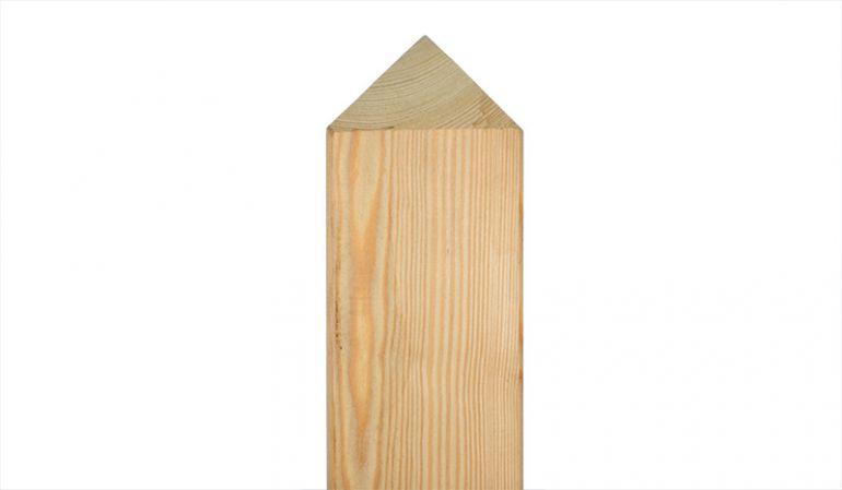 Der massive Pfosten aus sibirischer Lärche erhältlich in Maßen von 9 x 9 x 100 und 200cm