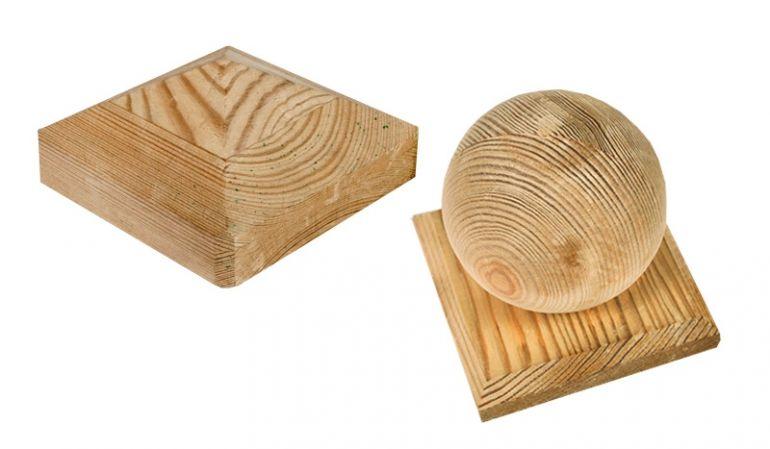 Holz Pfostenkappen aus druckimprägnierter Kiefer für 9 x 9 Pfosten
