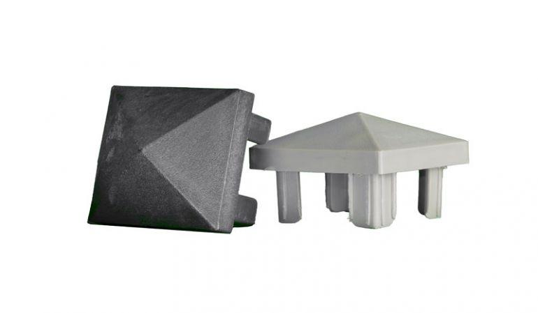 Die Pfostenkappen List mit 7,4 x 7,4 cm  in Anthrazit oder Silbergrau passend zu unserem Alu Pfosten List
