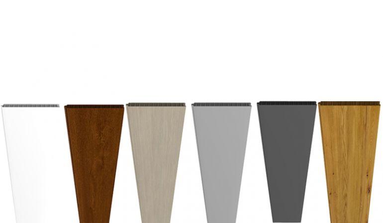 Die 180 x 30 x 1,9 cm PVC Lamellen sind in Weiß, Golden Oak, Sheffield Oak, Astfichte, Silbergrau und Anthrazit erhältlich
