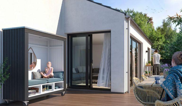 Die 179 x 67 x 183 cm Terrassenlounge ist mit vier Ø 125 mm Gummirollen ausgestattet und kann somit flexibel positioniert werden, je nach Sonnenstand und Windrichtung