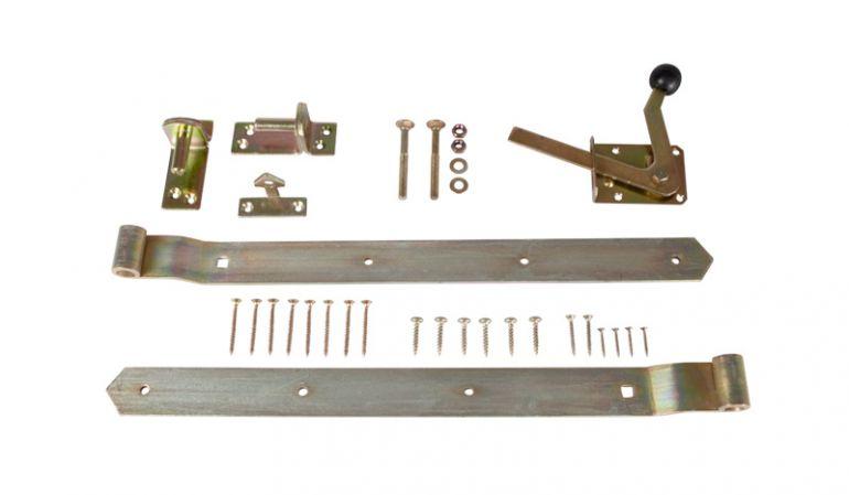 Torbeschlag aus Stahl (verzinkt) für Einzeltore wie z.B. Jägerzaun Gartenpforten, Lattenzaun Pforten etc.