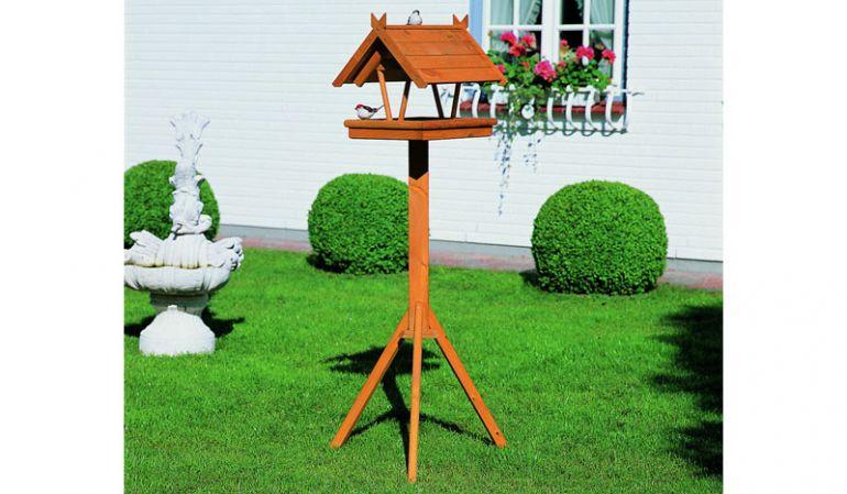 """Unser Vogelhaus Holz """"Eger"""" ist wahlweise mit oder ohne Ständer erhältlich. Farbe: Honigbraun"""