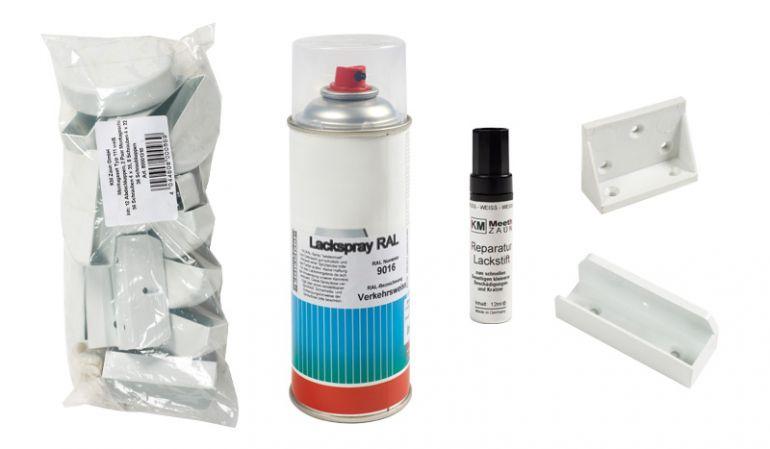 Das Zaunzubehör der Kunststoff Zaunserie Neuhausen. Beinhaltet: Reparatur-Lackstift, Reparaturlack 400 ml, Bausatz für Staktenzaun, Montageschuh und Schraubkappen - Weiß