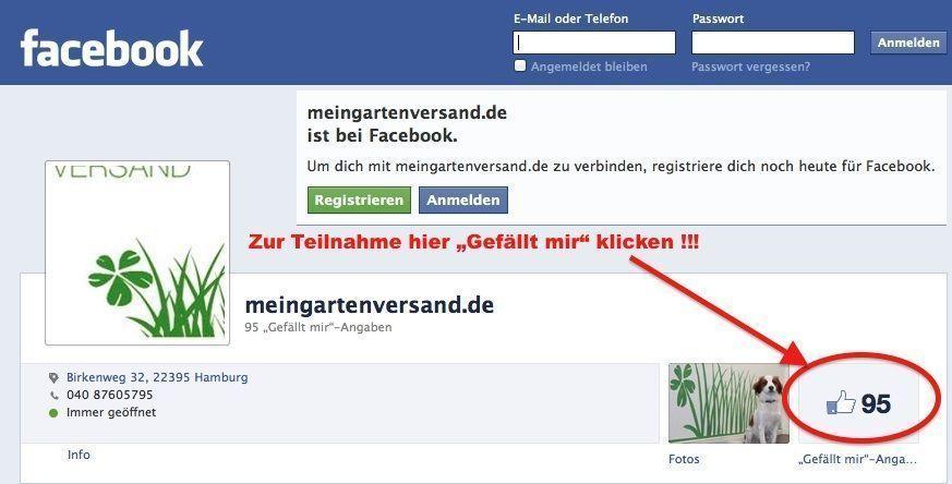Die Facebook Seite von meingartenversand.de